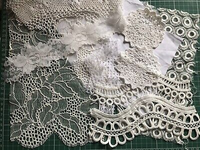 DIY Junk Journal Shabby Lace & Fabric Snippet Trim Kit Mainly White