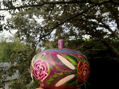 ANTIQUE Asian GOURD BOWL & LID Handcarved & Handpainted PURPLE GOLD Peony Pansy