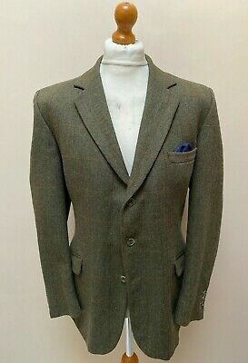 Vintage Hackett green tweed jacket with windowpane check size 44