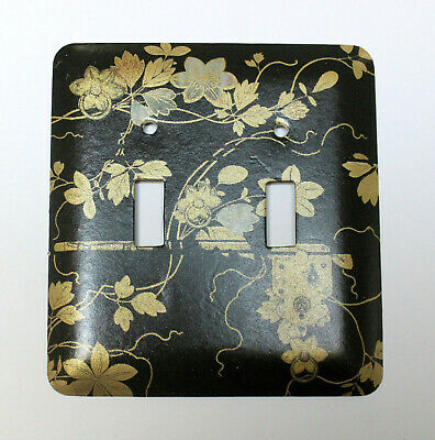 ASIAN Floral Theme Black Gold Decorative Metal Double Switch Plate Cover NOS