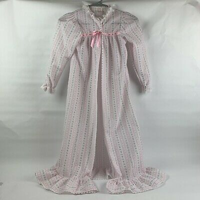 Vintage Girls White With Pink Floral Polyester Robe From Cassie Size 8