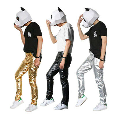 Mens Clubwear PU leather skinny long pants Shiny Metallic Trousers Party Costume