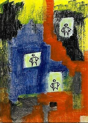 doors e9Art ACEO Outsider Folk Art Brut Painting Abstract Expressionism Naive