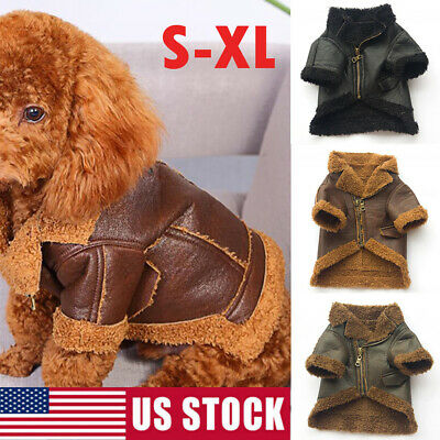 US Warm Winter Pet Puppy Dog Coat Leather Motorcycle Jacket Waterproof Clothes