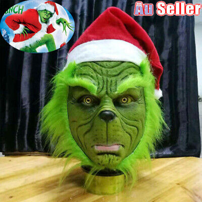 The Grinch Stole Mask W Christmas Hat Party Prop Cosplay Costume Halloween Xmas