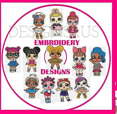 Embroidery Designs, Lol Dolls,  Pes Format Buy 2 Cds & Get Free Font Cd