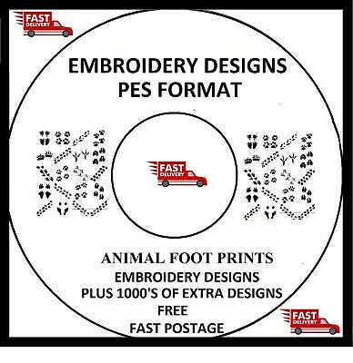 Embroidery Designs, Footprints, Pes Format Buy 2 Cds & Get Free Font Cd