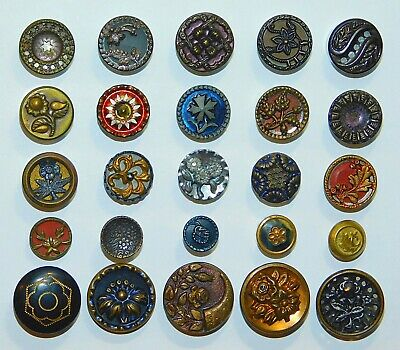 Antique VTG Victorian ORNATE Tinted Metal Picture Buttons Paris Back Cut Steel