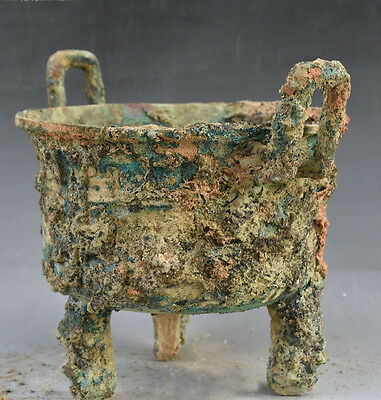 Collect Bronze Ware Dynasty Beast Container Ding Incense Burner Censer Statue