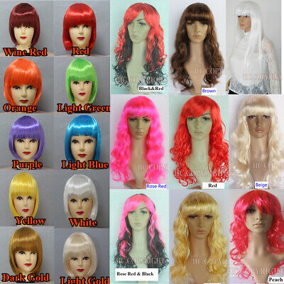 Multi Color Women Bobo Straight Hair Wig/Long Wavy Curly Bands Cosplay Wigs New
