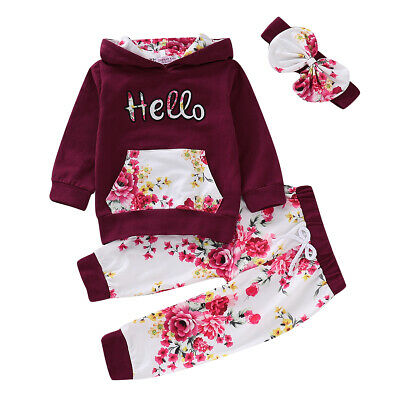 Toddler Kids Girl Floral Hoodies Tops Trouser Headband Tracksuit Clothes Sets
