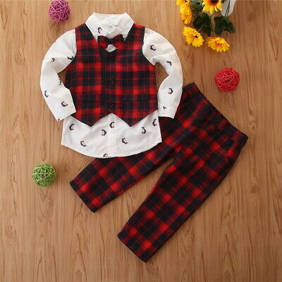 Kids Boys Check Christmas Shirts Vest Coats Pants 3Pcs Gentleman Suits Outfits