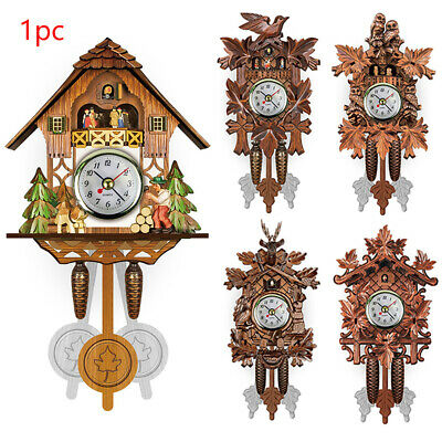 Vintage Living Room Pendulum Hanging Bird Wall Clock Wood Cuckoo Decorative Home