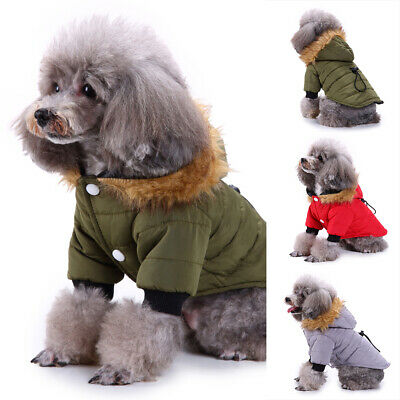 Pet Small Dog Puppy Warm Coats Jacket Hoodie Thick Apparel Outwear Clothes S-XL