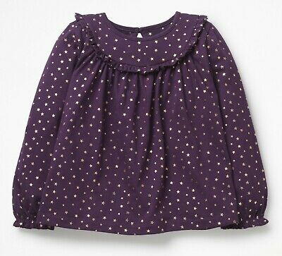 New Mini Boden Girls Pretty Collar Ruffle Purple Foil Stars Top £26 4yrs-12yrs