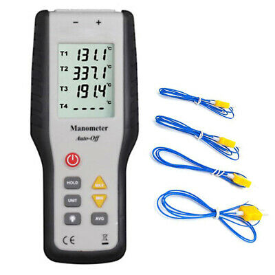 4 Channel Thermometer Thermocouple Sensor K-Type Temperature Meter Handheld