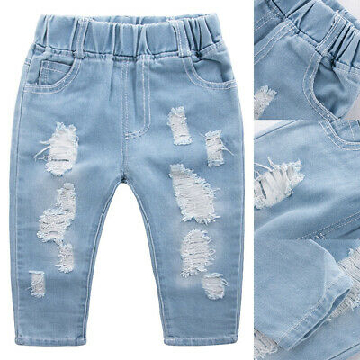 Toddler Kids Boys Girls Ripped Denim Jeans Trousers Elastic Waist Fashion Pants