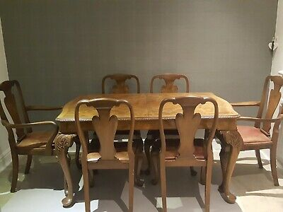 Art Deco Burr walnut Dining table and 6 Leather chairs Original Table Protector