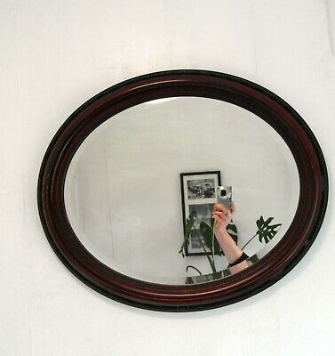 Antique Edwardian Oval Gesso Wall Mirror Bevelled Glass