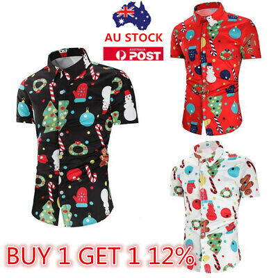AU Mens Christmas Shirt Short Sleeve Tops Summer Xmas Party Tee Casual Shirts
