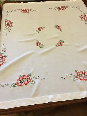 Beautiful Embroidered Vintage Square Floral TABLECLOTH