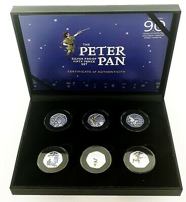IN HAND 2019 Isle of Man Peter Pan 50p Silver Proof Coin Set - Full Set