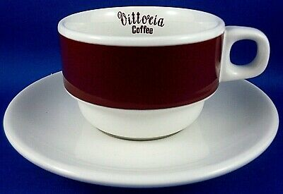 ACF Italy VITTORIA COFFEE Espresso Demitasse CUP & SAUCER Advertising Stackable