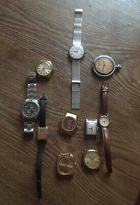 JOB LOT 10 MENS AND LADIES VINTAGE AND MODERN WATCHES For SPARES AND REPAIRS
