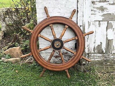 Antique Boat Wheel With Wooden Inlay