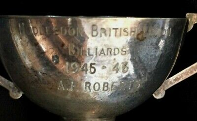 1945 Billiards Hoddesdon British Legion silver plate snooker trophy, loving cup