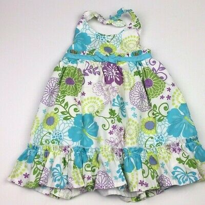Youngland Baby Girls Size 2T Dress Floral Halter White Purple Teal Flowers