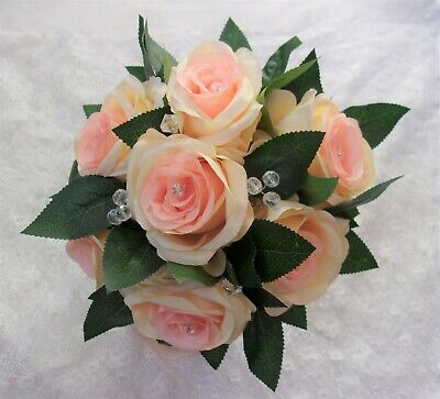 Peach Apricot Rose Greenery Foliage Natural Brides Flower Wedding Posy Bouquet