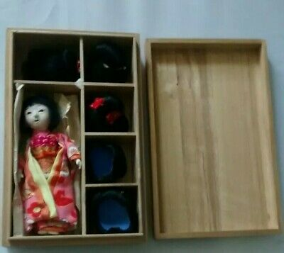 Antique Doll Japanese Gofun Girl w/5 Wigs in Original Wood Box