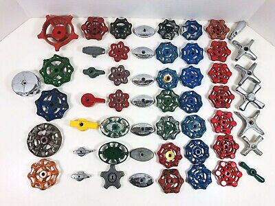 "Lot 55 Valve Handles Faucet Knobs Steampunk Industrial Art Lamp 3-3/4"" to 1-1/2"""