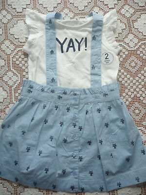 Next BNWT Blue Cat Skirt with Braces c/w T-Shirt/ 100% Cotton/ Age 4-5