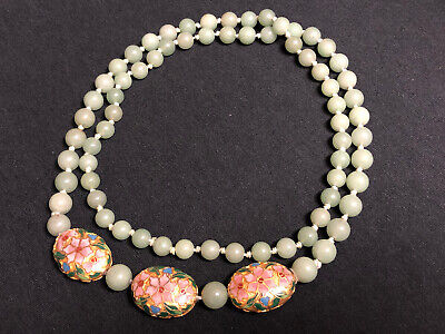 "Vtg Old Green Jade Jadeite & Floral Enamel Cloisonne Beaded 36"" Necklace Jewelry"
