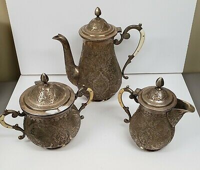Vintage PERSIAN 84 SILVER TEA SET Hand Carved. Beautiful!!!