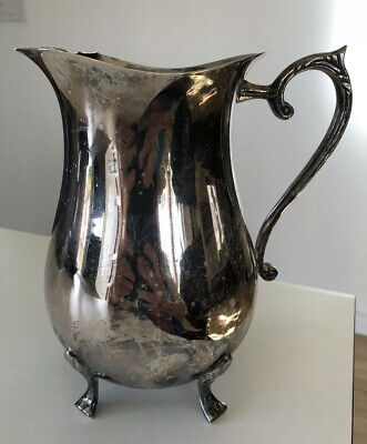 Vintage International Silver Co Silverplated Handmade in India Water Pitcher