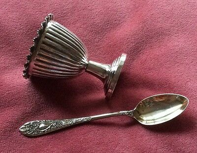 Antique Silver Ribbed Egg Cup And Repousse Teaspoon