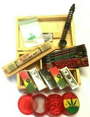 Black Smokers Wooden Rolling Box RAW King Size Papers Leaf Weed Metal Long Pipe