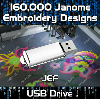 160,000 Janome, New Home Embroidery Pattern files JEF on USB