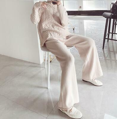 Womens Fashion 2Pcs Twisted Turtle Neck Knitted Sweaters Wide Leg Pants Sets 672