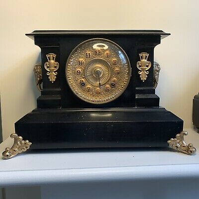 Antique Enameled Iron ANSONIA  Mantle Clock