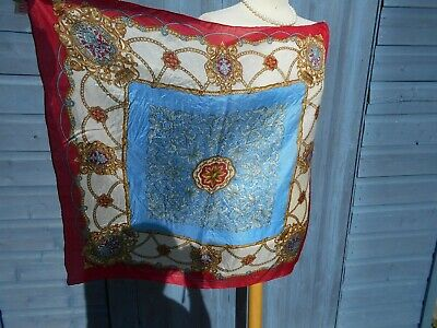 Authentic Vintage Scarf 1960-70's Large Scarf 100% Silk Turquoise Blue & Red