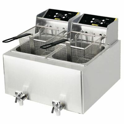 Buffalo Double Fryer with 2 Independent 8L Tanks Made of Stainless Steel 2x6Kw