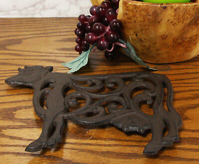 Western Farm Cow with Lace Scrolls Design Cast Iron Metal Trivet Home Decor