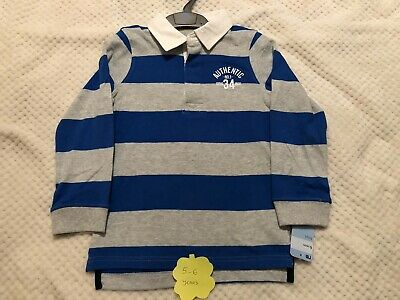 Brand New With Tags Mothercare Boys Blue Striped Long Sleeved Top 6 Years