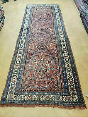 """3' 8"""" X 11' Antique Hand Made Persian Wool Rug Veg Dye Runner Nice Rusted Red"""