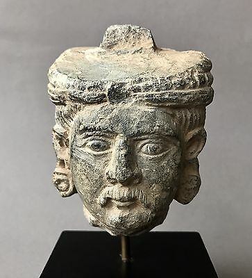 Finely Carved Ancient Gandharan Schist Stone Head C. 2nd-4th Century A.D.
