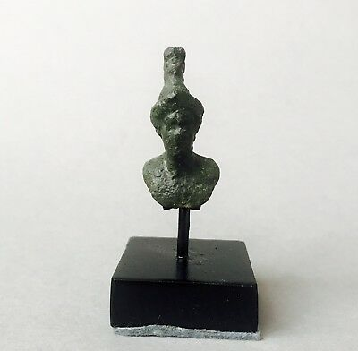 Beautiful Ancient Roman Bronze Bust of Minerva with Crested Helmet With Stand